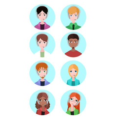portraits of various people tech support element vector image