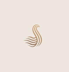 Premium wave line bird logo design swan creative vector