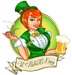 Pretty Pin Up Girl with beer mug and smoking pipe vector