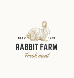 Rabbit farm fresh meat abstract sign vector