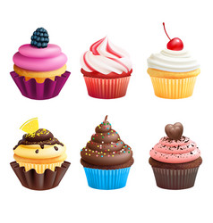 Realistic of cupcakes sweets vector