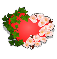 red heart decorated with cherry blossoms and ivy vector image
