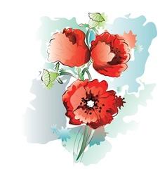 Red poppy flowers4 vector