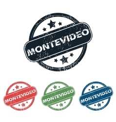 Round Montevideo city stamp set vector