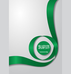 Saudi arabian flag wavy background vector