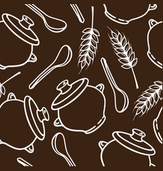 seamless pattern with spikes pots and spoons vector image