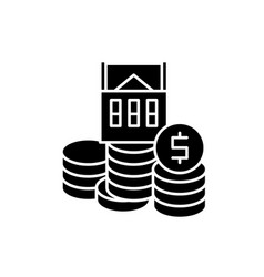 selling a house black icon sign on vector image