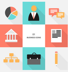 set 01 - flat design business icons vector image