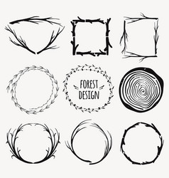 set decorative frames with plants and branches vector image
