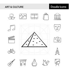 set of 17 art and culture hand-drawn icon set vector image
