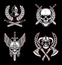 set of vintage emblems with ancient weapon vector image