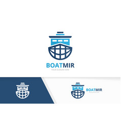 ship and planet logo combination boat and vector image