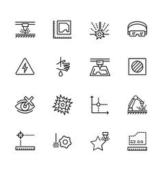 simple icon set laser cutting and metal processing vector image