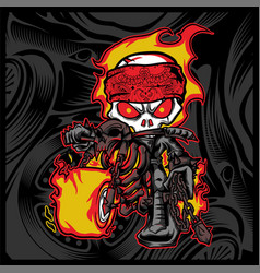 Skull rider ride a motor cycle vector