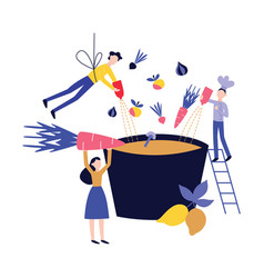 small people cooking dish in huge pot or cauldron vector image