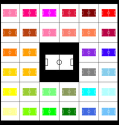 Soccer field felt-pen 33 colorful icons vector
