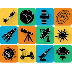 space silhouette icons set in flat style vector image