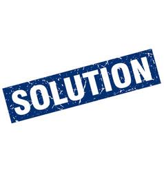 Square grunge blue solution stamp vector