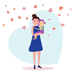 Standing mother holds daughter on a background vector