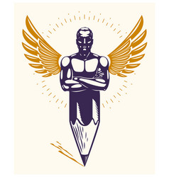Strongman muscle man combined with pencil and vector