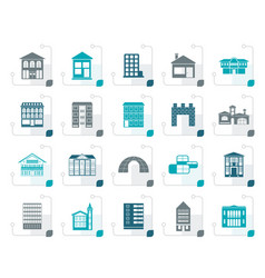 stylized different kinds of houses and buildings vector image
