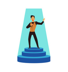 Talent show performer sing on stage pedestal flat vector