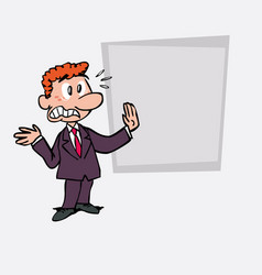 Very scared red hair businessman is showing as in vector