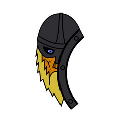 Viking face with shield symbol vector