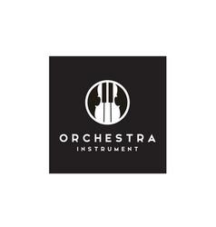Violin fiddle cello piano music instruments logo vector