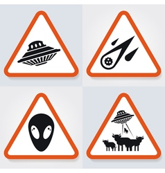 Warning UFO Signs 2 vector