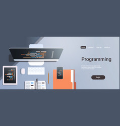 web site design development program code vector image