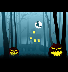 witch house in the dark scary woods vector image
