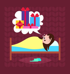 woman sleep in bad dream bubble gift box present vector image