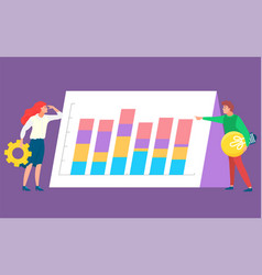 worker developing data analysis graph vector image