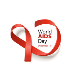 world aids day banner with red ribbon realistic vector image