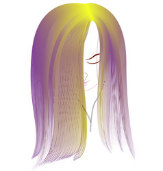young girl with long purple hair listening to vector image