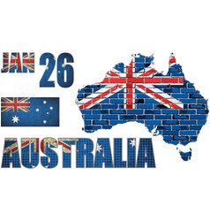 australia map on a brick wall vector image