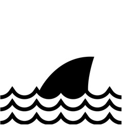 contour nature ocean waves with shark animal vector image