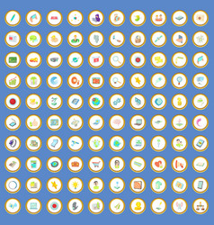 100 network icons set cartoon vector image