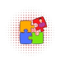 Businessman in a puzzle piece icon comics style vector image vector image