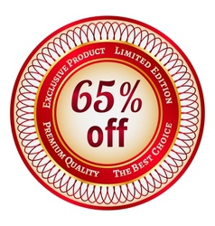Label on 65 percent discount vector image vector image