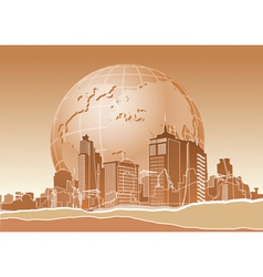Modern city and earth vector image