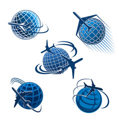 around the world travel icon with plane and globe vector image