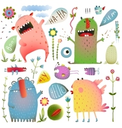 Fun Cute Monsters for Kids Design Colorful vector image vector image