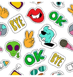 Fun hand drawn patch icon seamless pattern vector image vector image