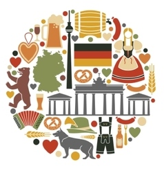 Icons Of Germany in the form of a circle vector image