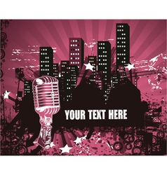 microphone with urban background vector image vector image