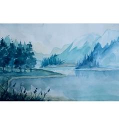 watercolor landscape vector image vector image