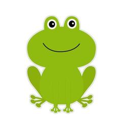 Cute green cartoon frog vector