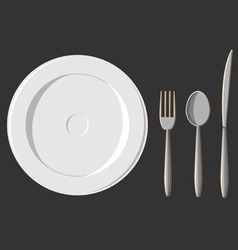 Dining Set Plate Fork Spoon Knife vector image vector image
